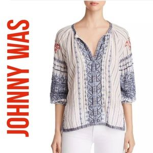 JOHNNY WAS SHEA PEASANT BLOUSE WHITE BLUE SMALL